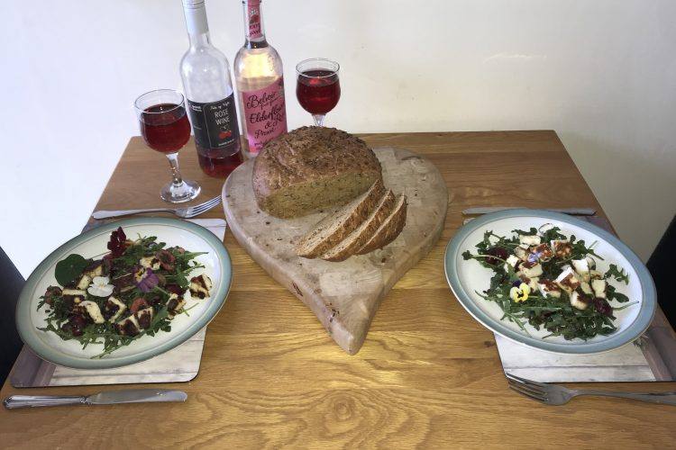 Food on table in willow cottage