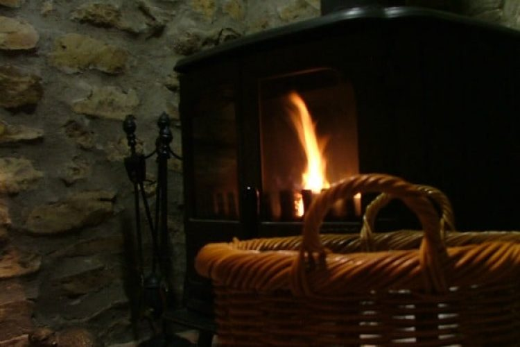 Wisteria cottage fireplace